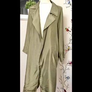 Momoni Designer Silk Green Trench Coat